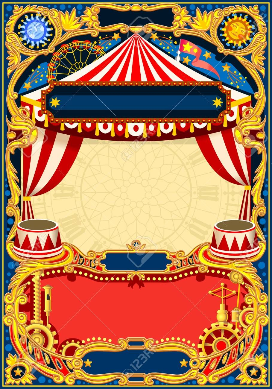 Circus editable frame. Vintage template with circus tent for kids