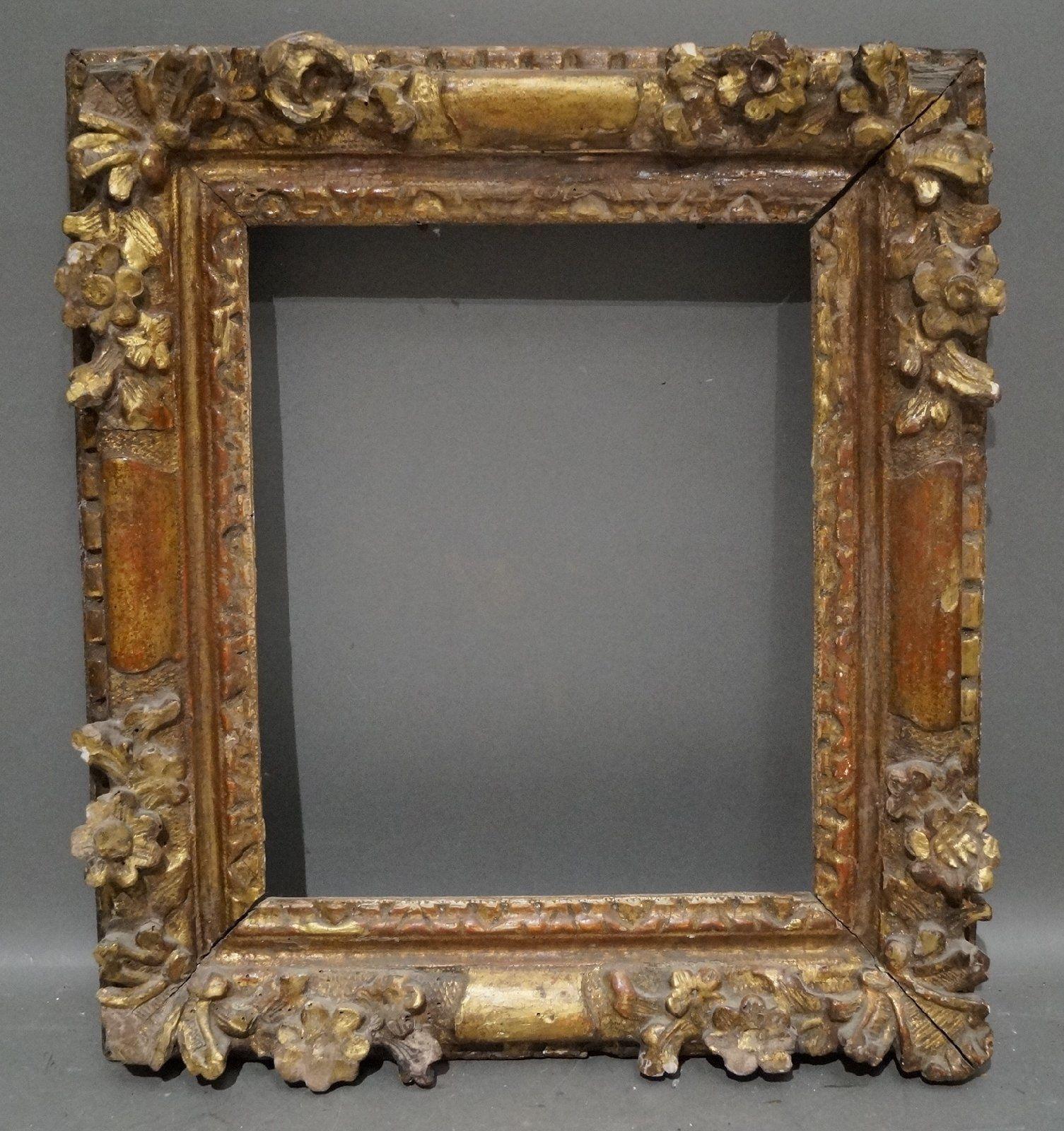 Prächtiger antiker Bilderrahmen Rahmen Holz Blumen geschnitzt ...