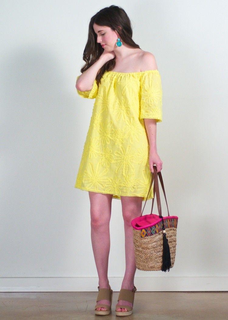 BB Dakota Marine floral off shoulder dress; yellow off the ...