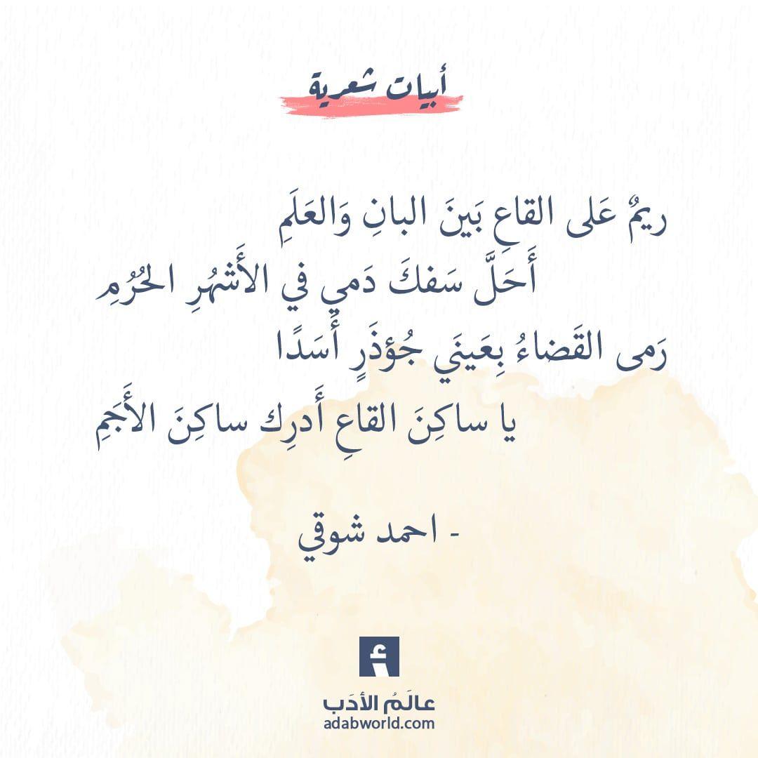 ريم على القاع من اجمل قصائد احمد شوقي عالم الأدب Words Quotes Quotations Arabic Poetry