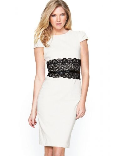 e4c0ab5072c White Paper Dolls Lace Waistband Midi Dress with Belt
