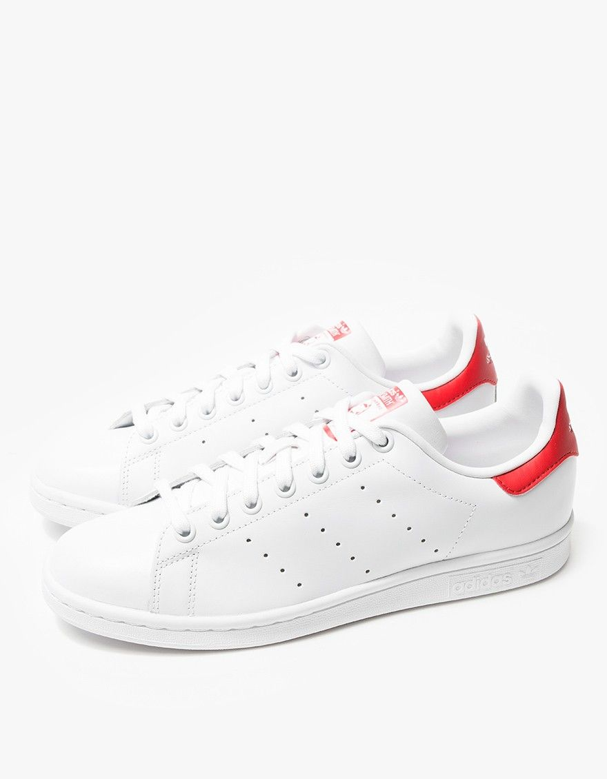 on sale d575a 5023b Stan Smith in White/Red | Tennis Shoes | Red adidas shoes ...