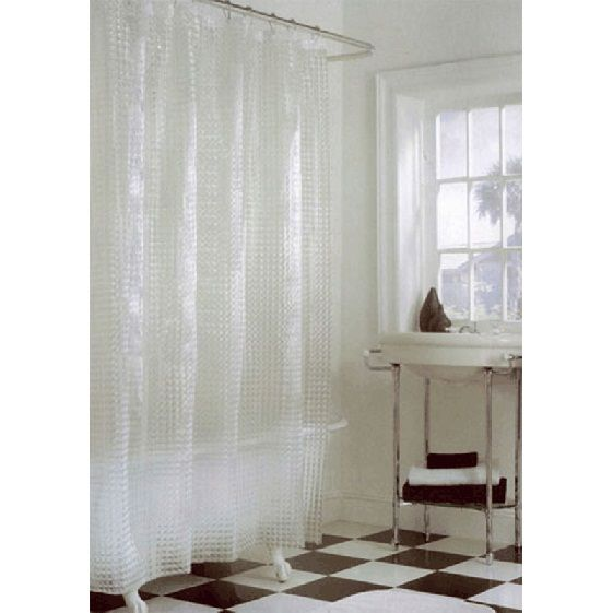 Clear Shower Curtain With An All Over Textured Cube Design With