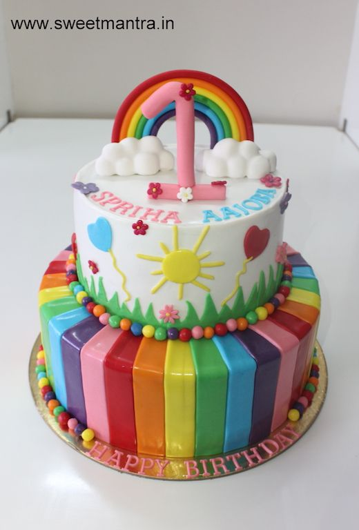 Homemade Eggless Customized Rainbow Theme 2 Layer Colorful Designer Fondant Cake For Girls 1st Birthday At Kothrud Pune