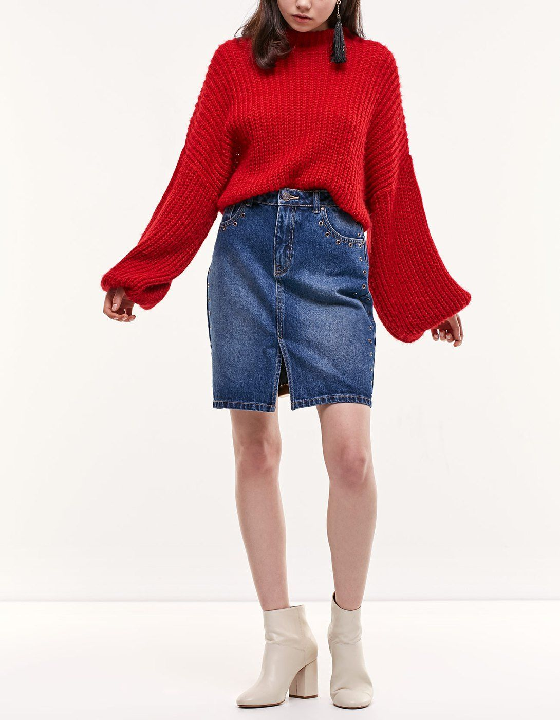 b7b0d3f0d1 Denim tube skirt with eyelet trim - Skirts | Stradivarius Slovenia ...