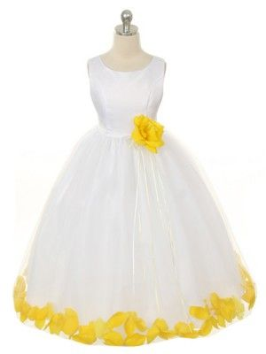 white and yellow flower girl dress