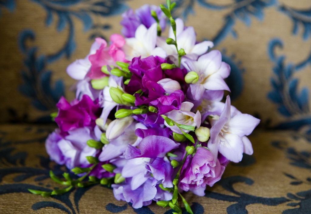 Sweet Pea Bouquet Flower Freesias And Peas