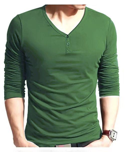 42e156042 Dark Green V Neck Modern Style T-Shirt in Pakistan
