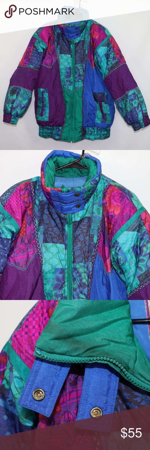 Vtg 90s Izzi Puffer Color Block Purple Jacket Sz M Purple Jacket Puffer Jacket Women Jackets For Women [ 1740 x 580 Pixel ]