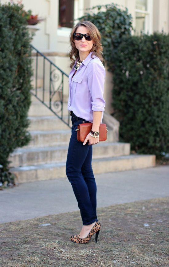 d6546243380968 Lilac silk blouse + dark denim + leopard-print pumps.