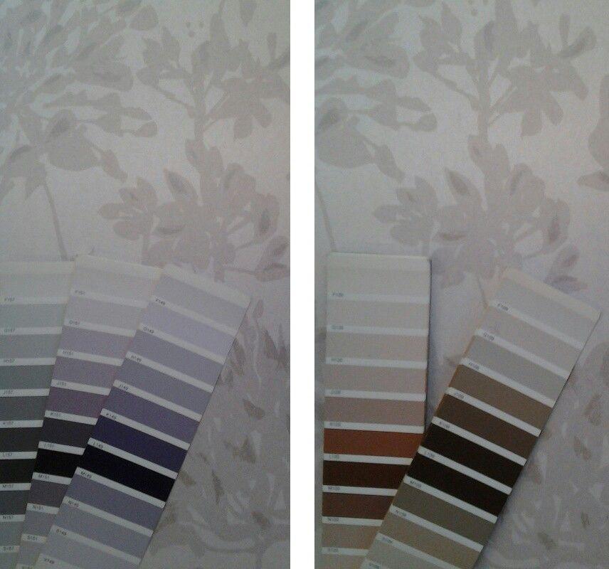 Un mismo papel pintado, para combinar con dos gamas de colores... violetas o tostados.