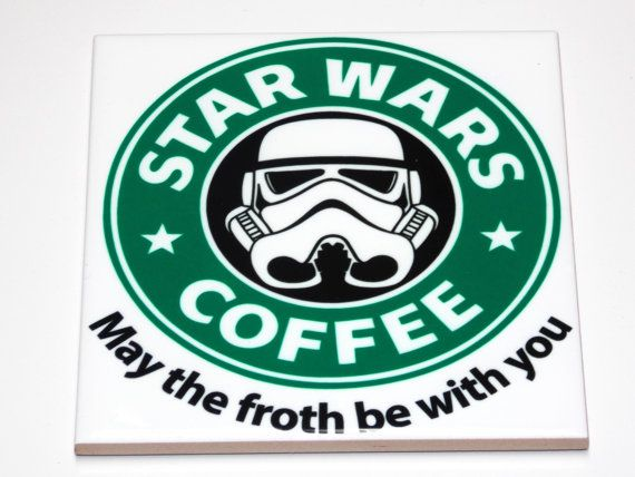 Star Wars Coffee May the froth be with you Ceramic Coasters Vibrant Colors High…