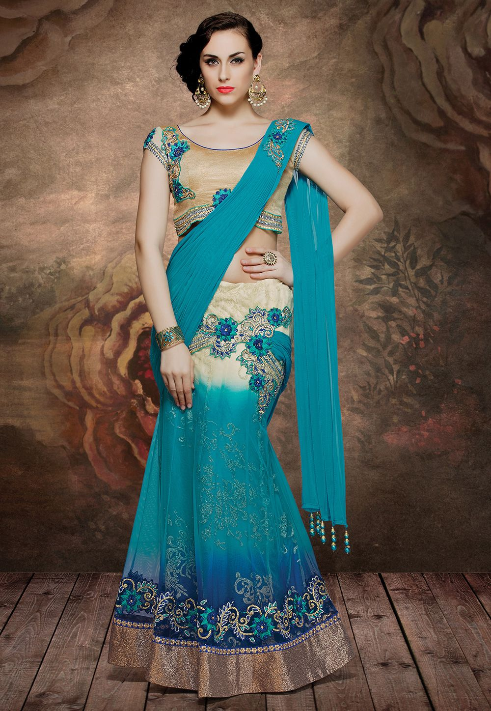 The beautiful shade of Teal Blue and Cream put together in this ...