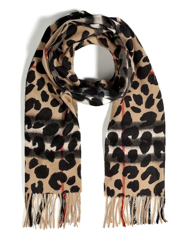 fde7a3353eae Burberry London Cashmere Animal Printed Giant Check Scarf   HOUSE OF ...