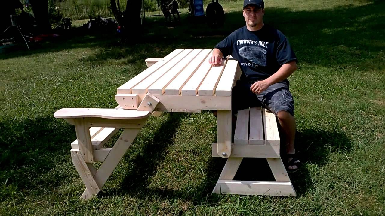 Lovely FULL SIZE Convertible Bench/Picnic Table By Mastroni Edge Woodcraft