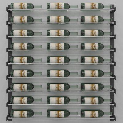 Idora 27 Bottle Wall Mounted Wine Bottle Rack Finish Black Chrome Wall Mounted Wine Rack Wine Wall Bottle Wall