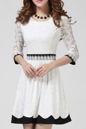 e82e8189e6 New Summer Women One-piece Casual Lace Dress Sweet Elegant White Black  Formal Fit and Flare Solid Dress Sleeve Gown for Party Wedding