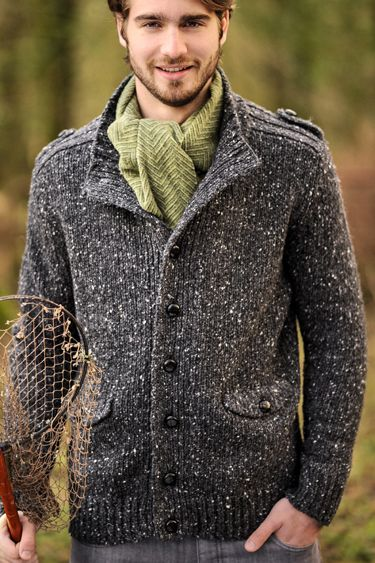 Mens Aran wool sweater with Buttoned Front and Flap pockets. Wear ...