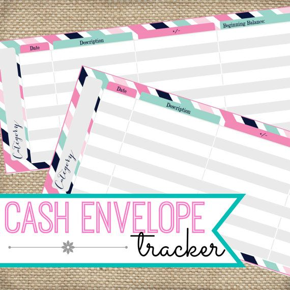 Printable Cash Envelope System Tracker Log Instant Download