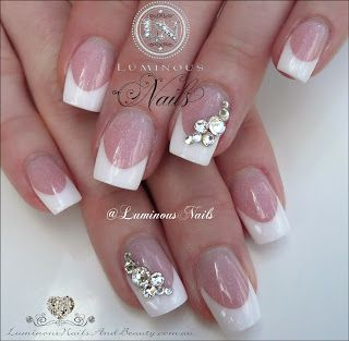 Classic French Wedding Nails with Swarovski Crystals