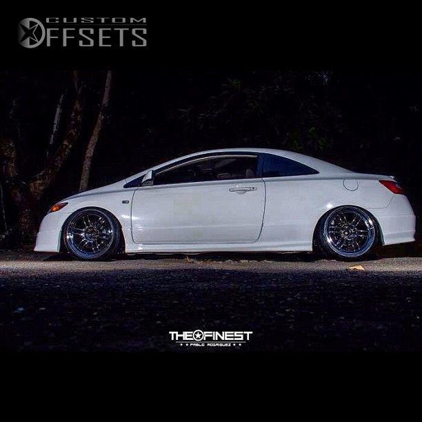 Honda Jdm Japanese Domestic Market Cars Monochrome: Wheel Offset 2006 Honda Civic Flush Dropped 3 Custom Rims