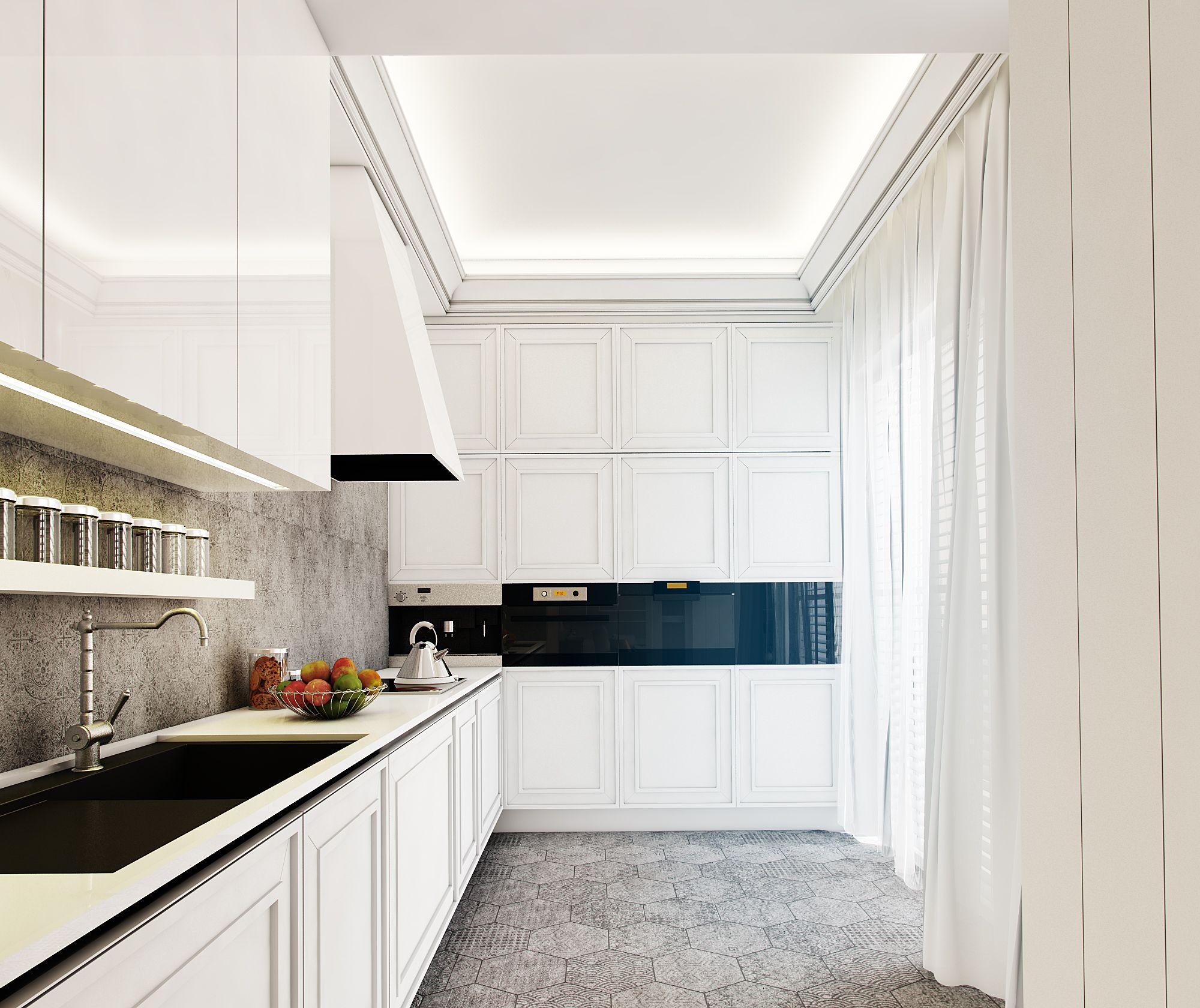 Elegancka Monochromatyczna Biało Szaro Czarna Kuchnia
