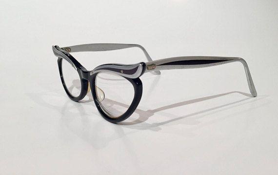 18469d0a04d Black   Silver Aluminum 50s Cat Eye Glasses Vintage Black