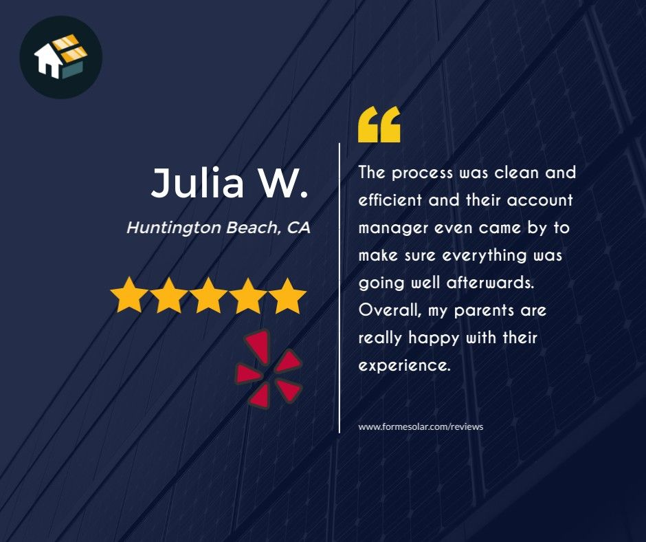 New 5 0 Star Yelp Review Julia W From Huntington Beach Ca I M Very Passionate About Sustainability In 2020 Solar Panel Installation Solar Companies Energy System
