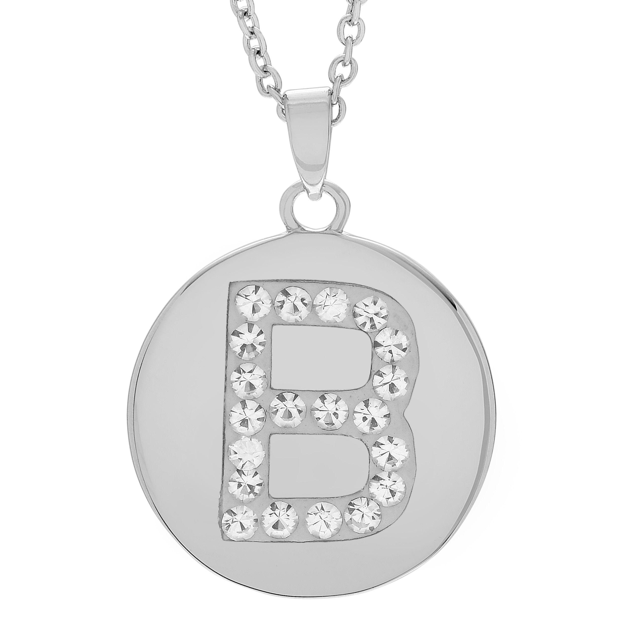 Journee collection silvertone cz circle initial pendant z womenus