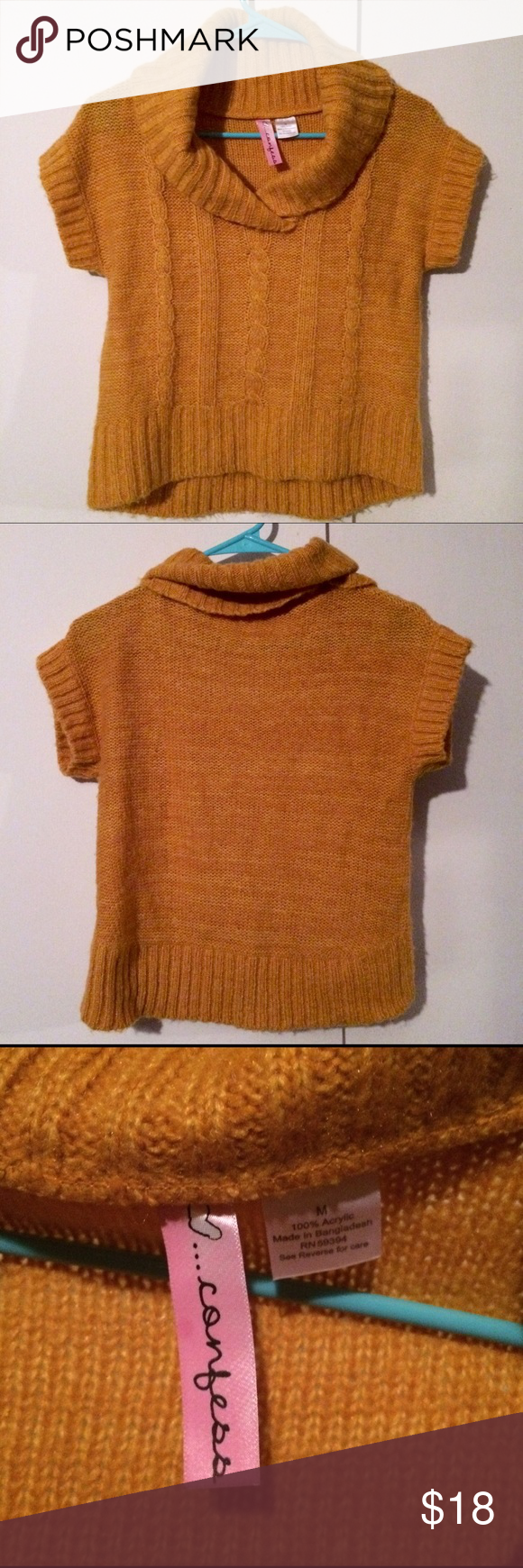 Mustard Gold Yellow Crop Sweater Top Cowl Neck | Cowl neck ...