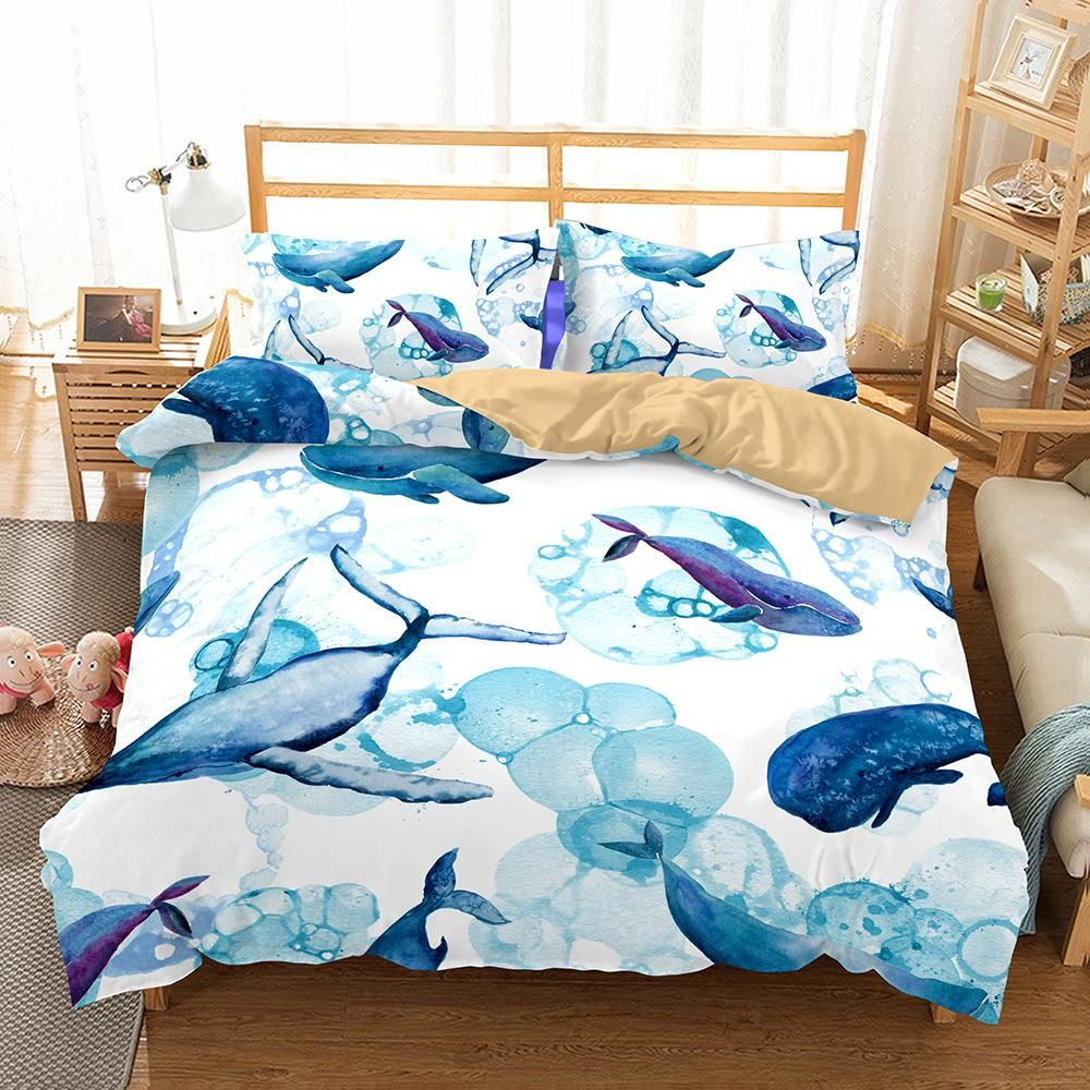 Seashells Duvet Cover Set with Pillow Shams Pastel Beach Scene Print