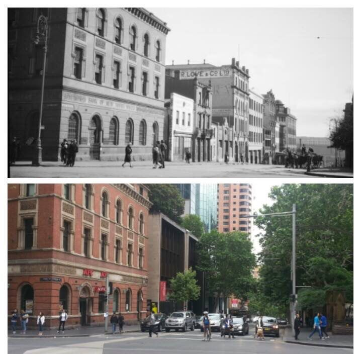Bathurst Street looking west from George Street, ca 1924 and 2015 [1924 > State Library NSW - 2015 > Allan Hawley]