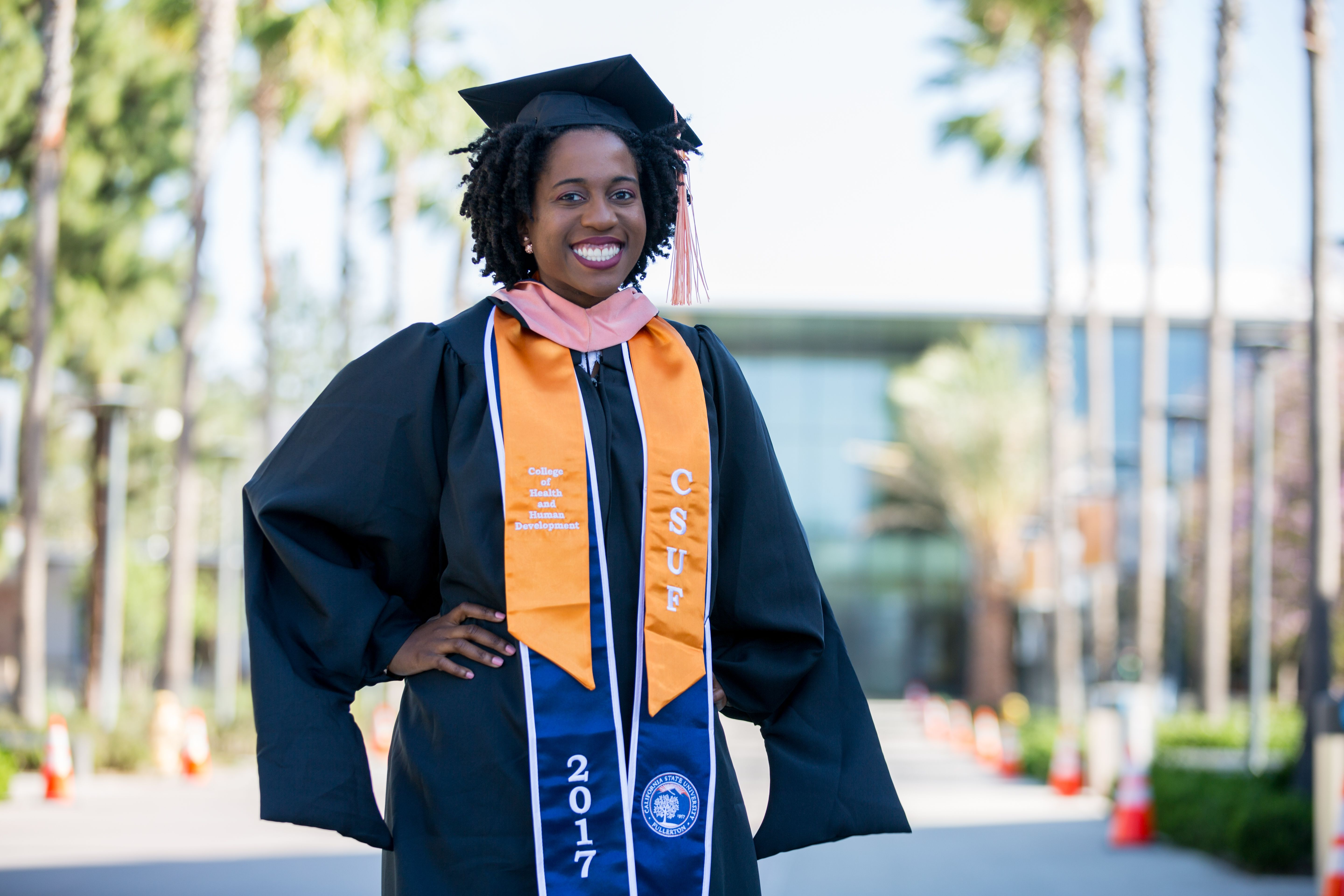 Latanya Poses For A Portrait On The Cal State Fullerton Campus