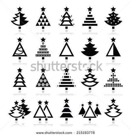 Christmas tree - various types vector icons set by RedKoala #xmas