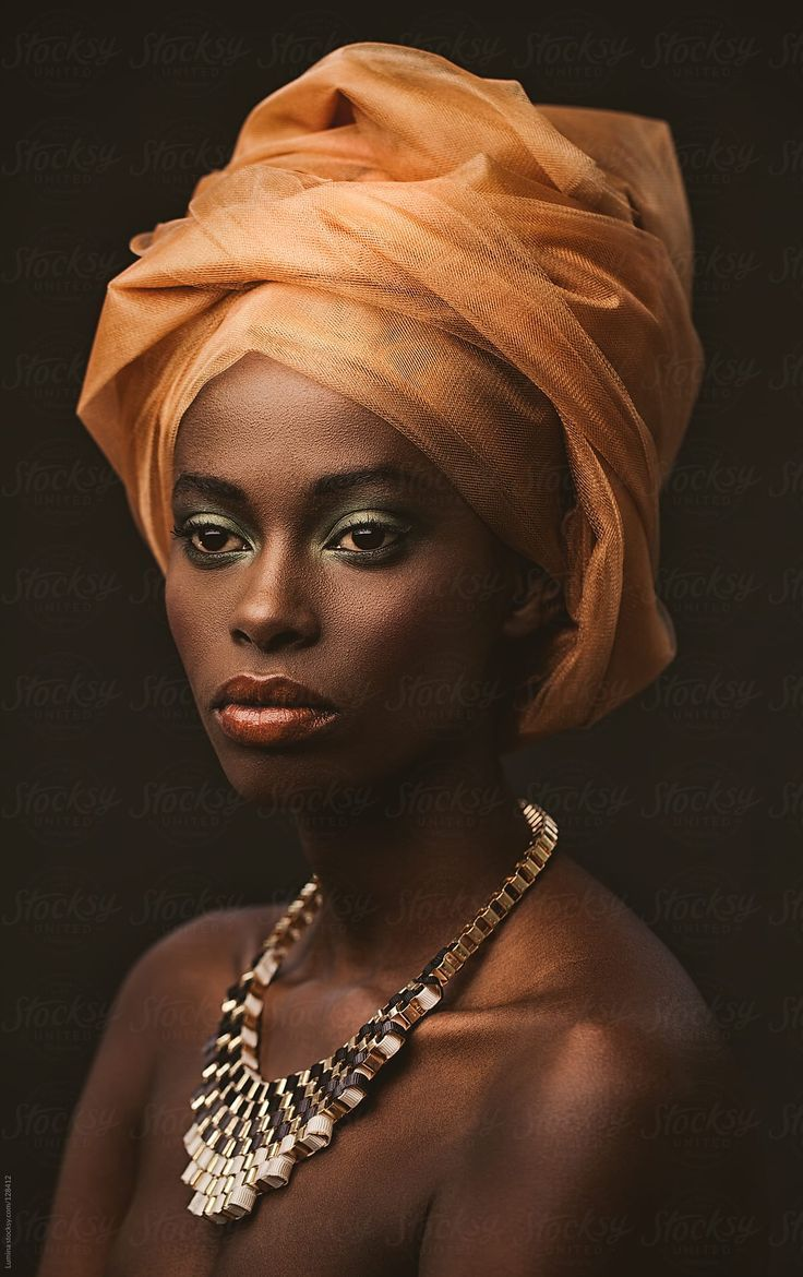 African Woman With An Orange Turban by Lumina   African