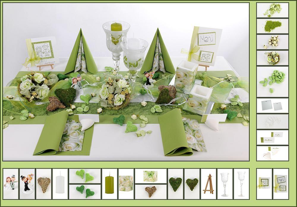 Tischdeko winter grün  Tischdeko Hochzeit 10 in Weiß/Grün als Mustertisch - Tafeldeko.de ...