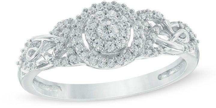 Zales 1 4 Ct T W Diamond Frame Celtic Knot Promise Ring In 10k White Gold Knot Ring Promise Diamond Promise Promise Rings
