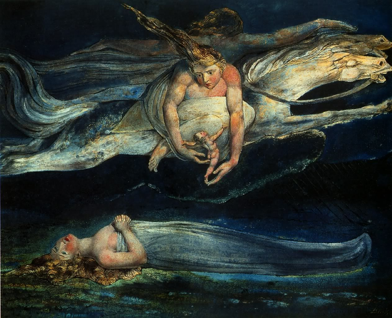Stunning.  William Blake - Pity - 1795  I saw a series of this paintings in the Tate. The room was black so as not to compromise the paint. The paintings glowed!