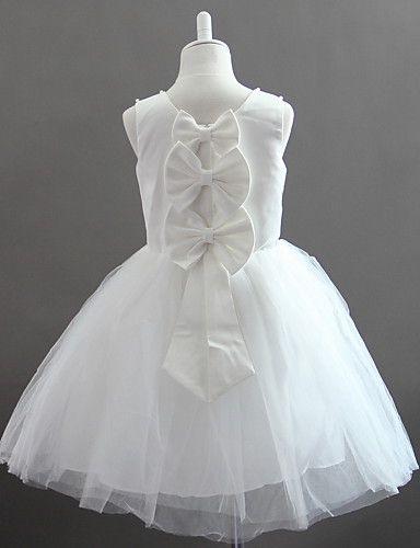 49 99 Una Línea De Mangas De Tul Y Raso Vestido De Niña De Las Flores Con Perlas Girl Dress Patterns Kids Dress Girls Dresses