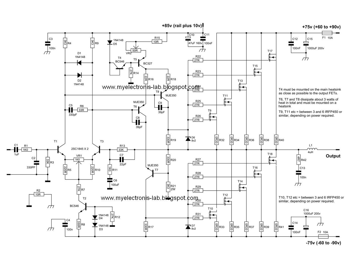 Electronics Circuit Application : 600 Watt Mosfet Power Amplifier Circuits.