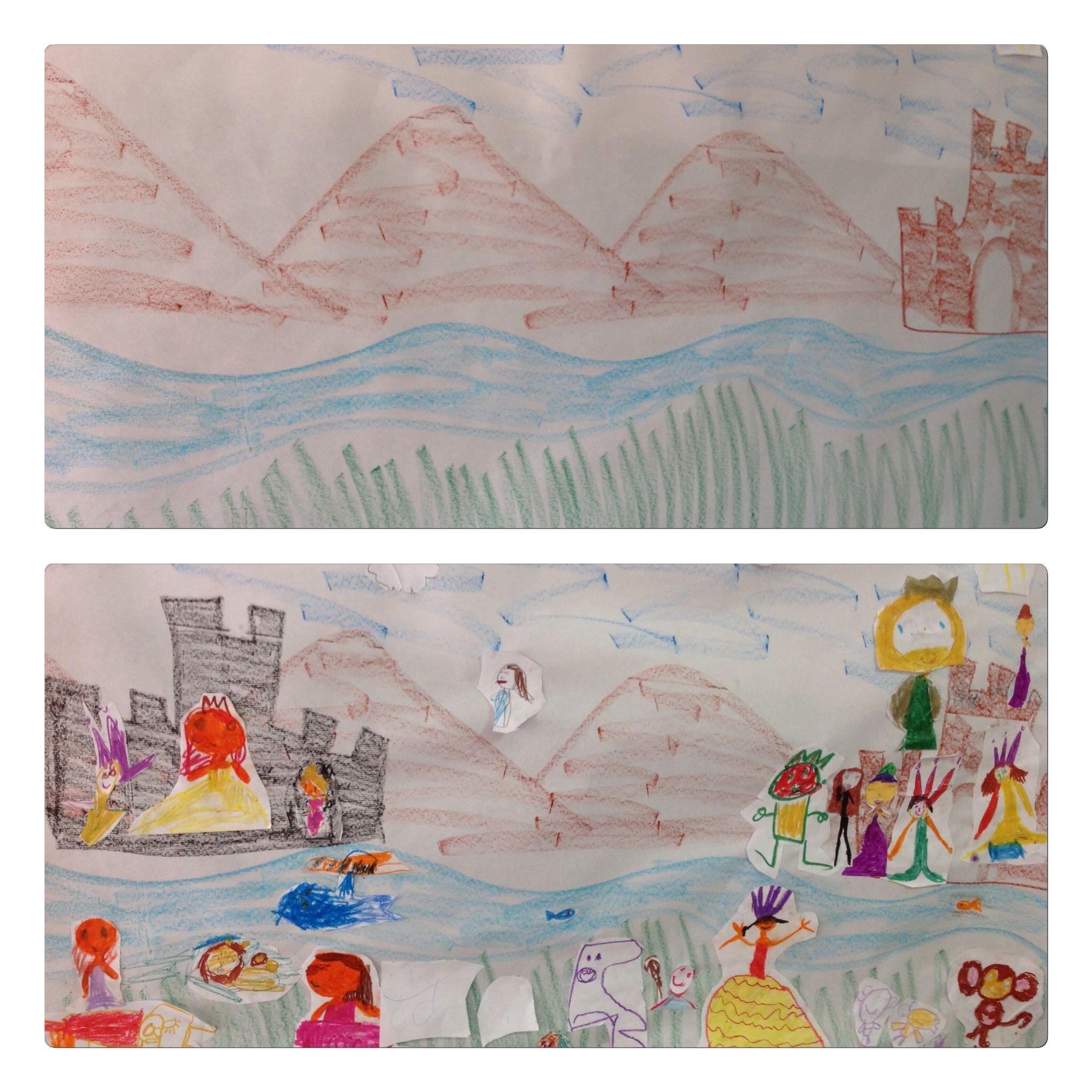 CUENTOS. Pintamos en un mural un paisaje para que los niños incluyan personajes u objetos que ellos dibujan. A continuación cada niño cuenta qué ha pintado y qué le ocurre. Unimos todo lo que han narrado y ya tenemos nuestro cuento. Alumnos de 5 años. Colegio Nstr. Sra. Santa María. Madrid