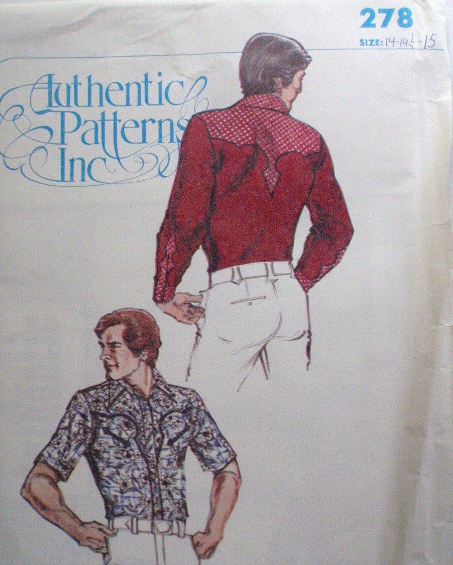 Mens western shirt sewing pattern authentic patterns inc 278 mens western shirt sewing pattern authentic patterns inc 278 size jeuxipadfo Images