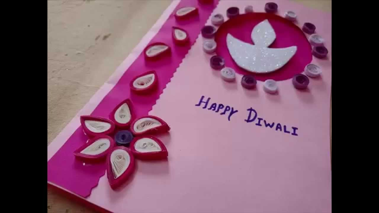 Diwali Greeting Card Making Ideas Part - 24: Diwali Greeting Card Making Idea With Paper Quilling
