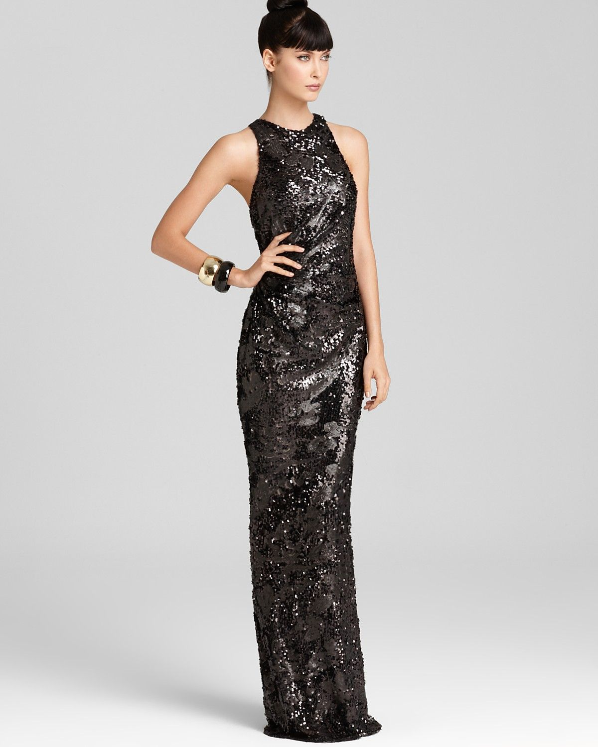David Meister Embellished Gown - Sleeveless High Neck ...