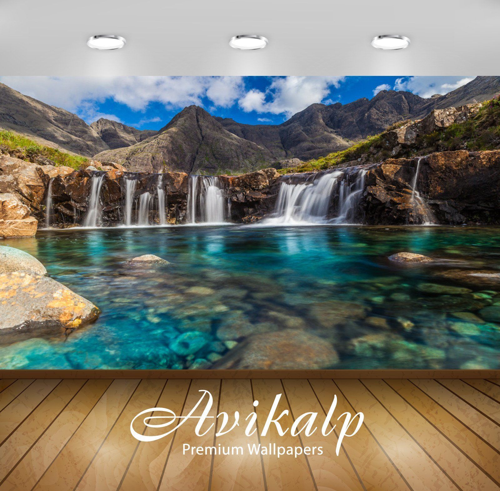 Avikalp Exclusive Awi1582 Beautiful Waterfall Full Hd Wallpapers For Living Room Hall Kids R Room Wallpaper Designs Wallpaper Living Room Kids Room Wallpaper Wallpaper valley relief grass river sky