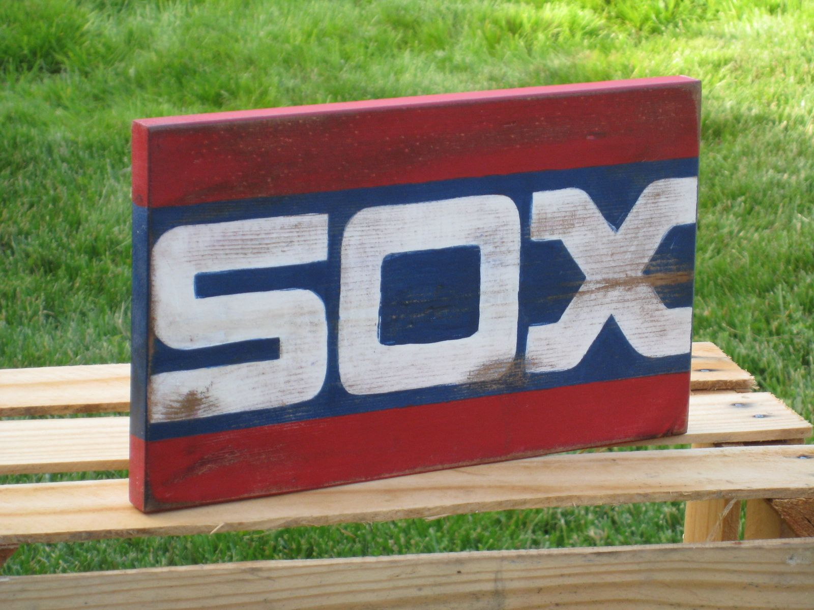 chicago white sox hand painted, sign with old school sox logo 2005