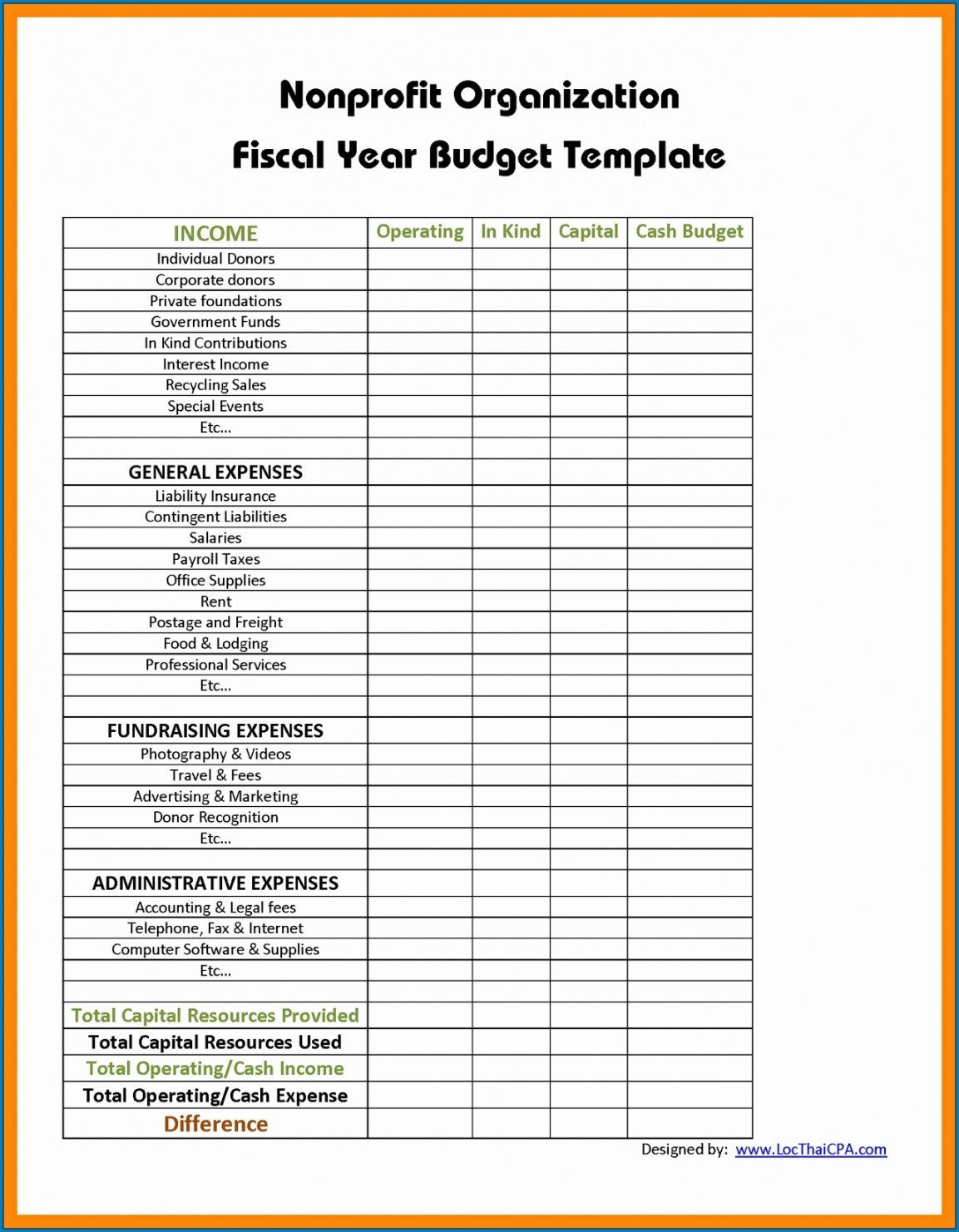Get Our Example Of Small Nonprofit Budget Template In