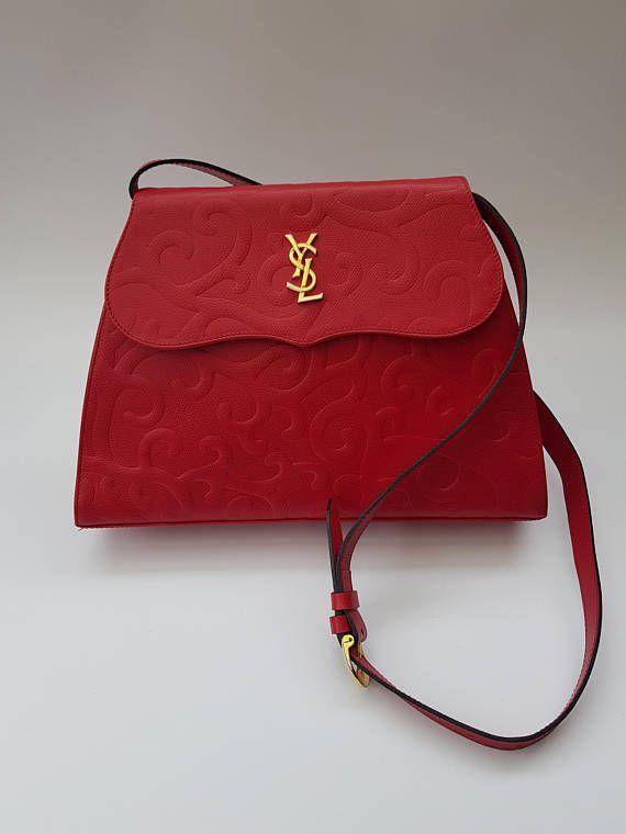 Ysl Yves Saint Laurent Vintage Red Leather With Arabesque Etsy Yves Saint Laurent Vintage Yves Saint Laurent Bags Yves Saint Laurent