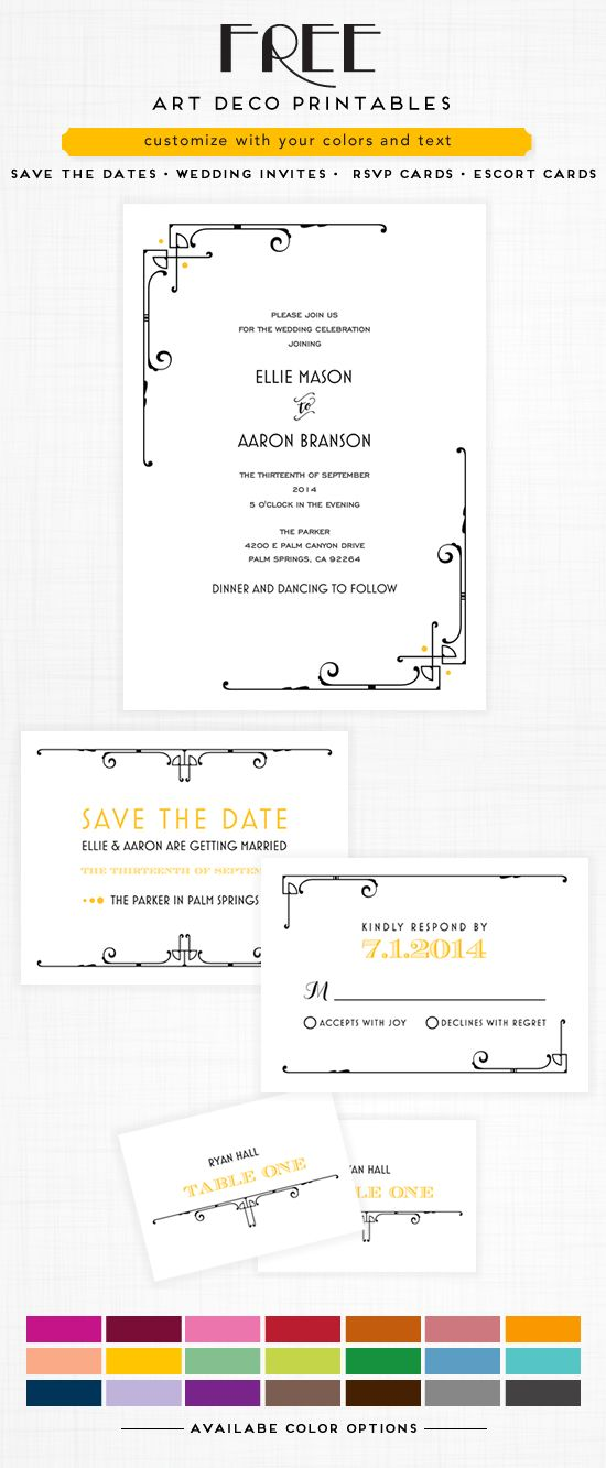 Art Deco Free Printable Wedding Hashtag Sign Free printable - free printable wedding rsvp cards