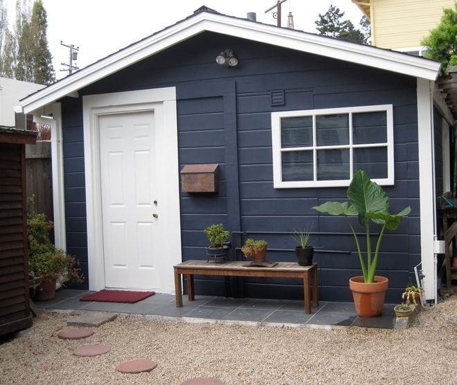 This Garage Was Painted With Benjamin Moores Evening Sky Exterior MakeoverExterior Paint ColorsHouse